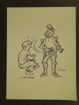 Image of [Armored knight slapping man in the face with gauntlet] - Nonnamaker, William D., 1930-2012