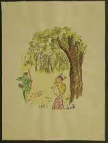 Image of [William Tell shooting an arrow through an apple on his son's head. Worm emerges] - Holmes, Frank (Quanda)
