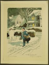 Image of [Mailman watching a snowman urinating] - Williams, Mike, 1940-