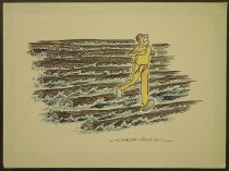 Image of [Jogger running across logs floating on water?] - Collins, Clive, 1942-