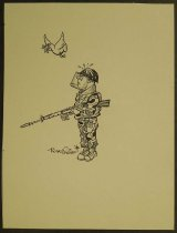 Image of [Peace dove droppings fall on soldier in uniform] - Friers, Rowel, 1920-1998