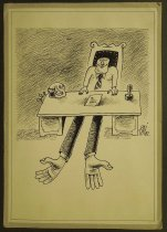 Image of [Man sitting at desk with hands reaching out from underneath] - Pena-Pai, Julian, 1948-