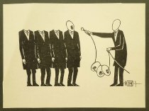 Image of [Man holding microphone strung with heads next to headless men] - Ignat, Mihai