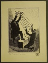 Image of [Man using marionette strings to manipulate another to tie his shoes] - Ignat, Mihai