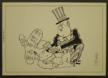 """Image of [Uncle Sam gives a dollar bill as smelling salts to ailing Mexican] - Allen, Stuart """"Trigg"""""""
