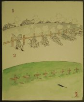 Image of [1.Soldiers aim at oncoming tanks. 2. Hillside of graves marked with crosses] - Morita, Kenji, 1939-