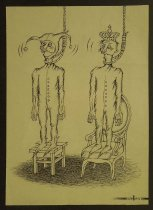 Image of [Jester standing on a stool, King standing on a chair, both with nooses around their necks] - Smal, Oleg