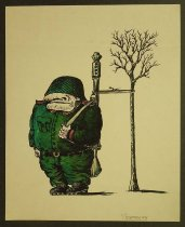 Image of [Soldier standing with rifle tied to a tree] - Kazanevsky, Vladimir