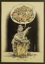 Image of [Unkempt man speaking about food from an overflowing trash can] - Bondarenko, Dmitri, 1967-