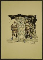 Image of [Clown with bound arms guarded by two guards in harlequin suits] - Valery, Momot