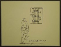 Image of [Prisoner looks out at dollar sign on prison bars] - Esquivel, Arcadio, 1959-