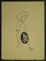 Image of [Pregnant woman with astronaut attached to the umbilical cord] - Galindo, Felipe, 1957-