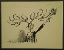 Image of [Prince Charles with antlers, reaching for his crown] - Calderon, Jose