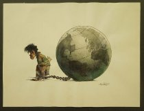 Image of [Poor young boy tied at the arms and shackled to the globe] - Sagastegui, Oswaldo