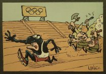 Image of [Group of Ku Klux Klan and Nazi men chase a black runner around an Olympic stadium] - Langer, Sergio, 1959-