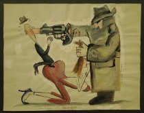 Image of [Man in an overcoat shoots another man kneeling on a woman] - Sanzol, Jorge