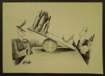 """Image of [General with nuclear missile and politican with peace dove on either side of a seesaw resting on the globe] - Miel, Prudencio """"DengCoy"""""""