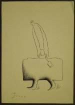 Image of [Man carrying a suitcase, his feet part of the suitcase] - Alizadeh, Javad, 1953-