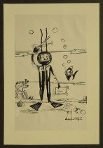 Image of [Deep sea diver holding a letter in one hand, cutting his cord with a scissors with the other] - Kamel, Nagi, 1934-