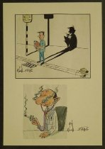 Image of [Two cartoons on a health theme pasted to a paper mount] - Kamel, Nagi, 1934-