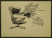 Image of [Man with dollar wings smoking a cigar flies to a large office chair away from poorer flying man] - El Din, Saad