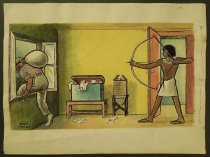 Image of [Egyptian warrior aims bow and arrow at burglar leaving through a window] - El-Adawi, Zohedi