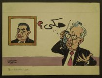 Image of [Yitzhak Rabin? on a cel phone talking to a framed picture of Hosni Mubarak?]  - Boukhari, Baha, 1941-2015