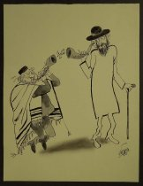 Image of [Jewish man wearing a tallit and playing a shofar to an deaf elderly Jewish man with an ear trumpet] - Katz, Shemuel Alexandar, 1926 –2010