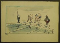 Image of [Fish on a starting block ready for a swim race] - Rosenfeld, Fery, 1912-1991