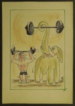 Image of [Elephant and a weight lifter lifting weights] - Rosenfeld, Fery, 1912-1991