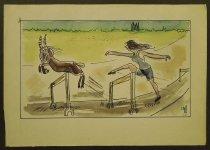 Image of [Goat beats woman jumping over hurdles] - Rosenfeld, Fery, 1912-1991