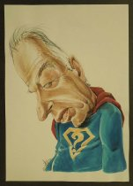 Image of [Yitzhak Rabin in Superman suit with a question mark] - Cohen, Shlomo, 1943-