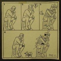 Image of [Rodin 'The Thinker' creates a robot] - Farkas, Ya,acov 1923-2002