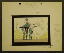 Image of [Garden set, gazebo, fountain and hanging clouds] - Noble, Maurice, 1911-2001