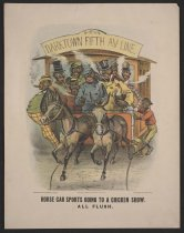 Image of Horse car sports going to a chicken show. All Flush. - Currier & Ives