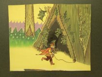 Image of [Hunter with bow and a ball of string running through a forest. Bats look on] - Koljushera, T.