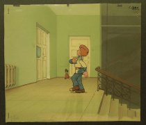 Image of [Boy and small boy by doors on a building landing] - Savchenko, Anatoliy