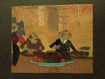 Image of [Two men eating from a table full of food] - Sobolev, Vladimir