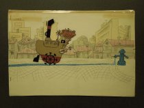 Image of [Three men in a boat on a small stream coming from an open fire hydrant] - Kavavaev, Valentin