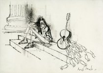 Image of [Hippie sitting on a step watching a nest of mice coming out of his guitar] - Searle, Ronald, 1920-2011