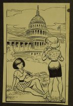 Image of [Two women picnicing outside the Capitol building]  - Ward, George
