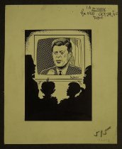 Image of [Family watching John F. Kennedy on television] - Ward, George