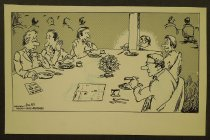 Image of [Men eating dinner at a restaurant, one man seated behind a pillar] - Underwood, Mike