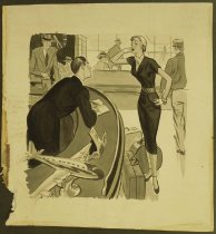 Image of [Woman traveller at an airport airline ticket counter] - Kip, George