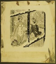 Image of [Woman in a swimsuit seen through a window on a snowy day] - Kip, George