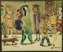 Image of [Two watercolors of people on city sidewalks] - Kennedy