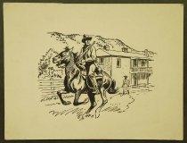 """Image of [Cowboy on horse rising through town] - Petersen, K. Gunnor """"Pete"""", 1907-1982"""