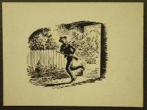 "Image of [Cowboy shooting running out of a burning building] - Petersen, K. Gunnor ""Pete"", 1907-1982"