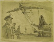 """Image of [Airmen on airfield while airplane takes off] - Petersen, K. Gunnor """"Pete"""", 1907-1982"""