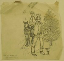 "Image of [Cowboy holding small pine tree] - Petersen, K. Gunnor ""Pete"", 1907-1982"